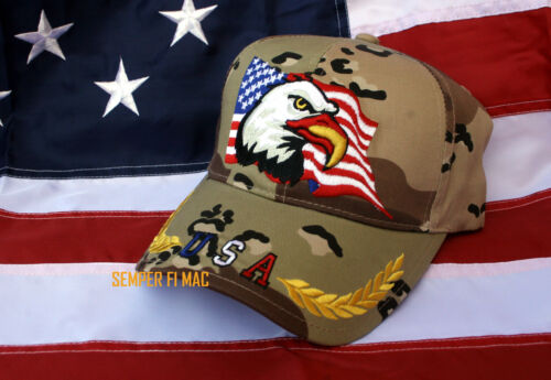 USA FLAG BALD EAGLE HAT US ARMY NAVY MARINES AIR FORCE USCG DESERT CAMOFLAUGEOther Militaria (Date Unknown) - 66534