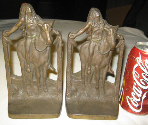 ANTIQUE CAST IRON 1930 SIGN AMERICAN INDIAN WAR HORSE BOOKENDS BRONZE STATUE USA