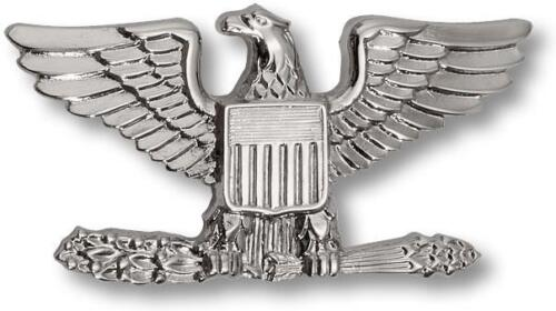 """US Army Rank Colonel Left Lapel Metal Silver Hat Pin Emblem Badge 1""""Army - 66529"""