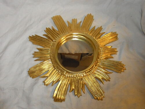 Mid Century 60´s Resin Sun Burst Star Bust Wall Mirror Gilt #<3