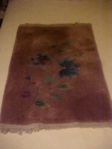 """Vintage HAND KNOTTED ORIENTAL RUG, WHITE AND BLUE FLOWERS, 36.25"""" by 25"""""""