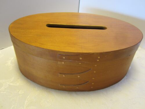 """Bent wood maple Tissue sewing storage oval box finger lapped shaker style 12"""" W"""