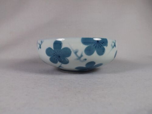 Beautifully Hand Painted Asian Bowl Signed by Artist Ringed Blue Flowers