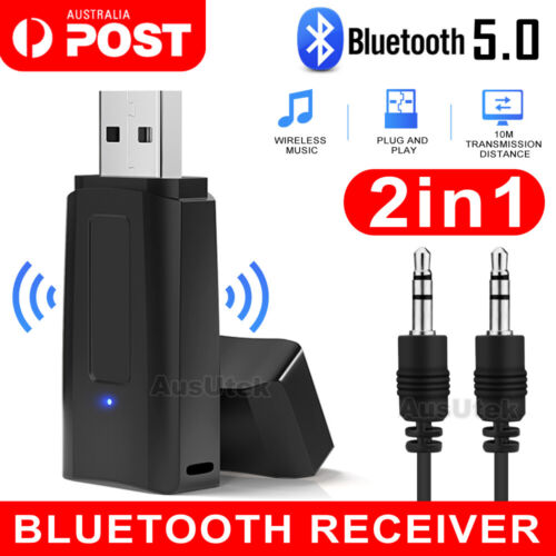 5.0 Wireless Bluetooth 3.5mm Audio USB Receiver Adapter Music Dongle AUX A2DP