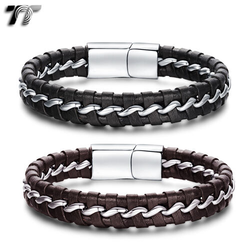 TT Genuine Leather 316L Stainless Steel Bracelet (BR192) NEW