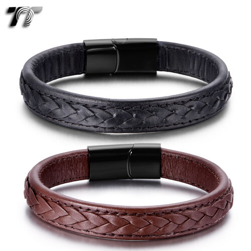 TT Genuine Leather Black 316L Stainless Steel Bracelet (BR212) NEW