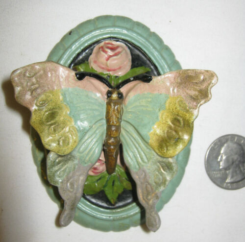 MINT ANTIQUE 1926 ROSA MAY PICKARD CAST IRON FLOWER GARDEN BUTTERFLY DOORKNOCKER