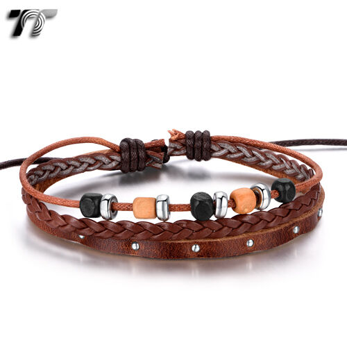 Quality TT Brown Leather Wood Bead Bracelet Wristband (LB313) NEW