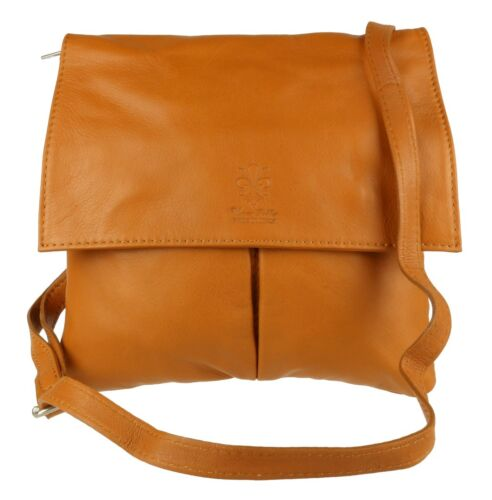 Pocket Real Italian Genuine Leather Vera Pelle Shoulder Bag Cross Body Strap