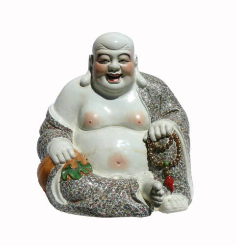 Happy Face Buddha With Prayer Beads And Money Bag w452