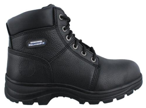 Skechers shire Steel Toe  Boot Leather Mens Work And Uniform Shoes Mid Heel