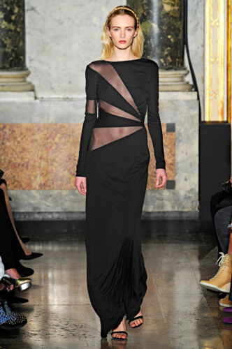 EMILIO PUCCI Runway Black Mesh Tulle Long Gown Dress  BNWT 12 US 10 IT 44 £2200