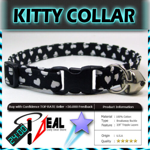 Safety  CAT KITTEN  Breakaway Collar ~ Tiny Hearts on Black ~
