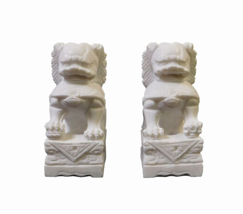 Chinese Hand Carved White Marble Stone Foo Dog Statue Pair cs1380