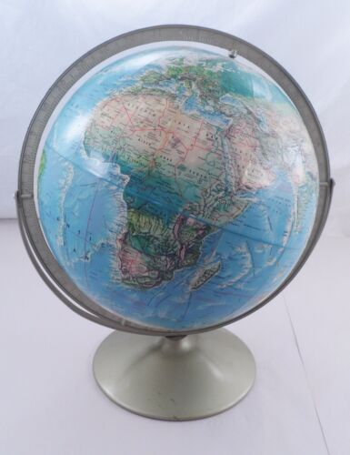 1960s Rand McNally Topographical World Portrait Globe w/ Metal Stand Swivel Axis