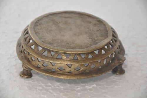 Old Brass Small Handcasted Round Jali Cut Design Idol / Statue Stand
