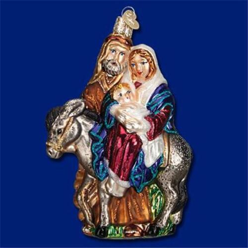 Holy Family With Angel Hair Glass Ornament: Holiday & Seasonal