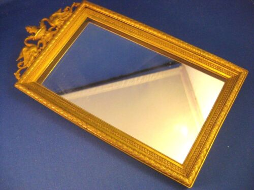 """French Dore Bronze  ~ GRIFFON GILT MIRROR ~ 9-1/8"""" Tall by 5"""" Wide"""