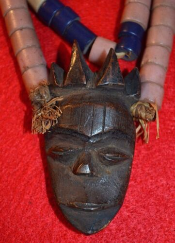 African Pende Tribal Necklace Antique Carved Wooden Face Pendant Congo, Africa