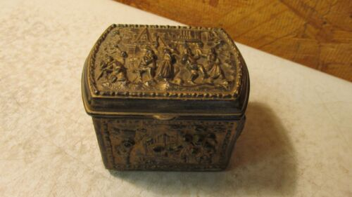 Antique JB Brass Finish Jewelry Box Dancers