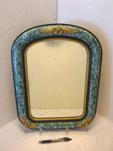 """WOOD GESSO WALL MIRROR  ARCHED VICTORIAN GREEN FRAME ORIGINAL 17.5"""" T VINTAGE"""