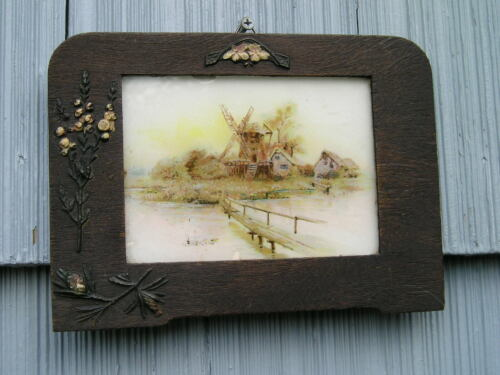 Unusual Antique Victorian Soot Finish Oak~Wood Picture Frame Florals Pine Branch