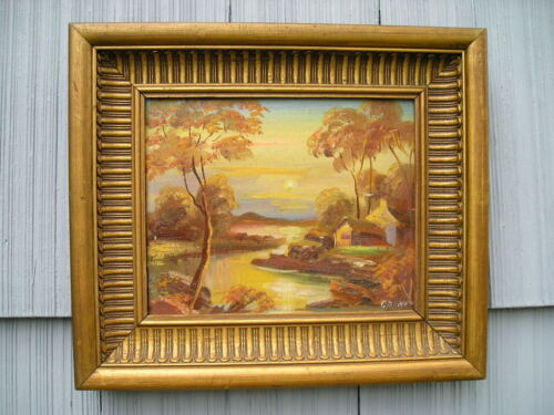 Antique Art Crafts Gold~Bronze Picture Frame Cottage Sunset Painting Dunant 9~12