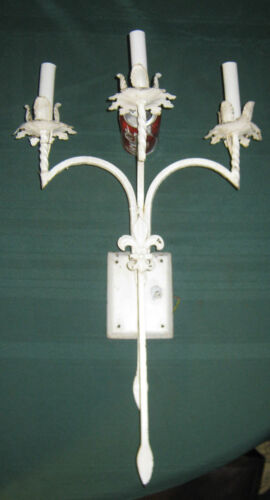 ANTIQUE ARCHITECTURAL SHABBY CHIC WROUGHT IRON GARDEN WALL ART SCONCE LAMP LIGHT