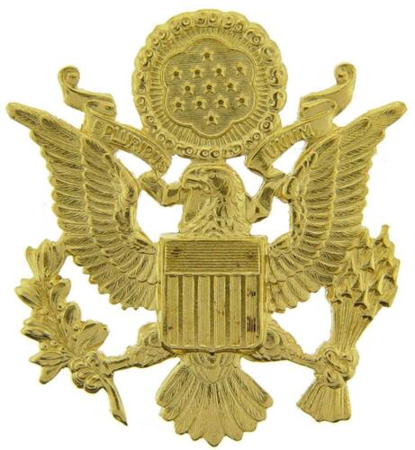 """US Army Officer Cap Eagle Badge Insignia Gold 2-1/2"""" Lapel Hat Pin"""