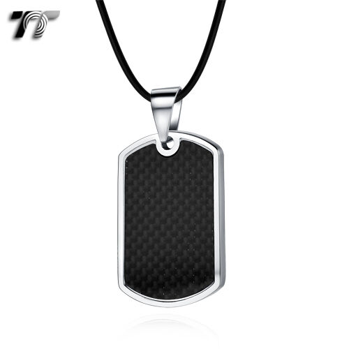 TT Black Firbre Stainless Steel Dog Tag Pendant Necklace (NP322) NEW
