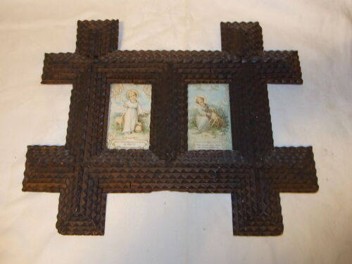 Antique German Tramp Folk Art Pictuer Frame with 2 Image #C