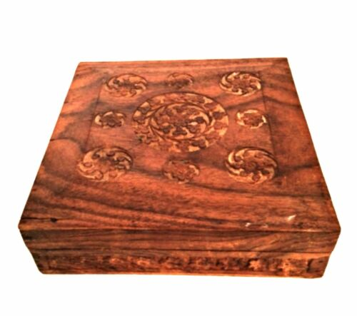 Vintage Wood Trinket Jewelry Box Hand Carved Felt Lined Hinged Top Made in India