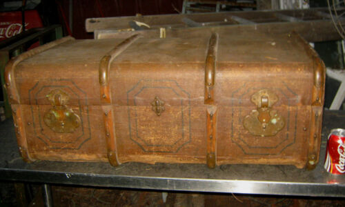 ANTIQUE PRIMITIVE COUNTRY ART WOOD BRASS COFFEE TABLE FURNITURE CHEST TRUNK USA
