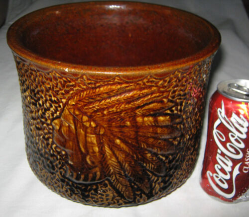 ANTIQUE BENNINGTON DBL. INDIAN STONEWARE POTTERY ART CROCK FLOWER PLANTER MCCOY