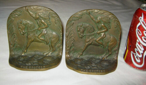 ANTIQUE SOLID BRONZE NATIVE AMERICAN INDIAN HORSE PROTEST ART SCULPTURE BOOKENDS