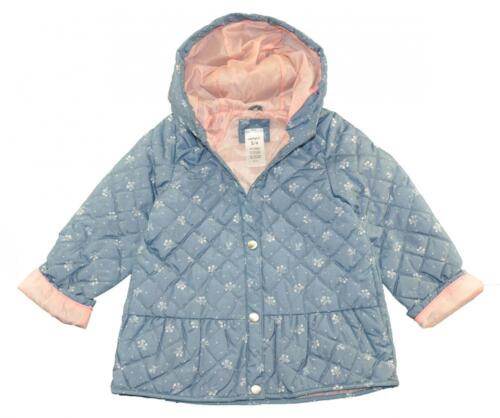 Carter's Toddler Girls Chambray Blue Floral Print Quilted Jacket Size 2T 3T 4T