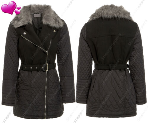 Size 8 10 12 14 16 NEW Womens Wool QUILTED BIKER JACKET FAUX FUR Long ZIP Coat