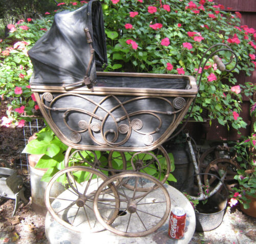 ANTIQUE PRIMITIVE COUNTRY WICKER WOOD CAST IRON WHEEL BABY TOY CARRIAGE STROLLER