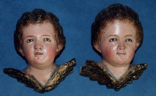 2 Antique Glass Eyes Carved Wood Cherub Angel Santo Colonial Bust Religious Art