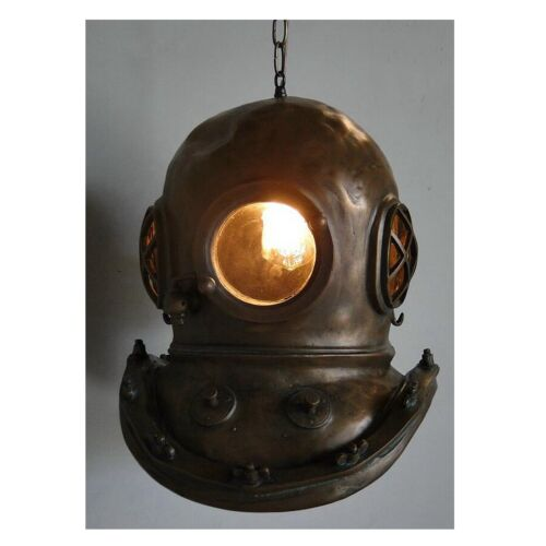 Mark V Divers Helmet Pendant Chandelier in Antique Bronze Finish Old Style Light
