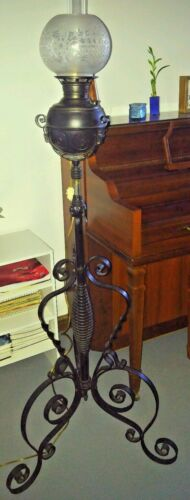 Antique Wrought Iron Adjustable Piano Floor Oil Lamp Art Nouveau - Electrified