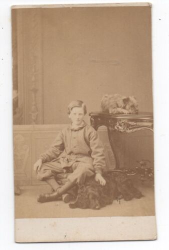 1870s CDV Photo of Boy and his two Dogs from Quebec Canada