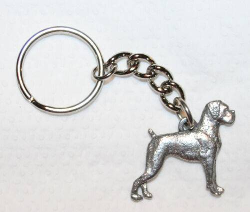 BOXER UnCropped Dog Fine Pewter Keychain Key Chain Ring Fob