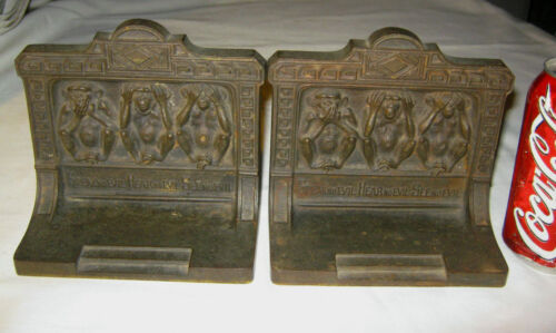 ANTIQUE USA BRADLEY HUBBARD SEE SPEAK HEAR NO EVIL CAST IRON ART STATUE BOOKENDS