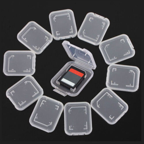 10 X Transparent Standard SD SDHC Memory Card Case Holder Box Storage Plastic