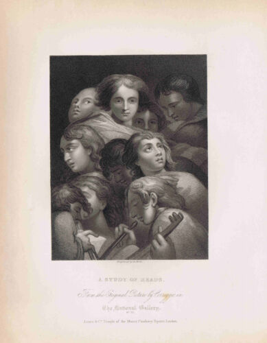 A STUDY OF HEADS by CORREGGIO   -National Gallery 1836 Steel Engraved Print
