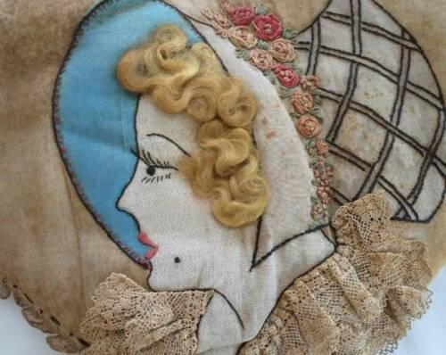 Vintage 20s Flapper Boudoir Pillow Embroidered Lace Organdy Hair Heart