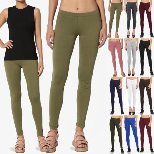 TheMogan Women's Essential Basic Plain Cotton Spandex Ankle Full Leggings