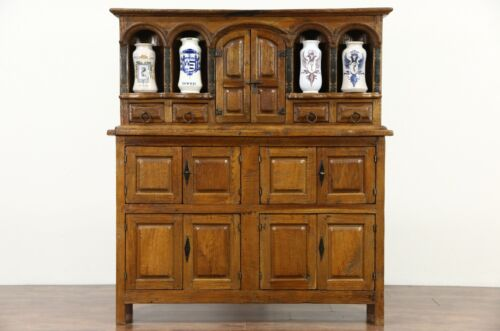 Apothecary Cabinet, Teak Vintage Cupboard with Drug Jars