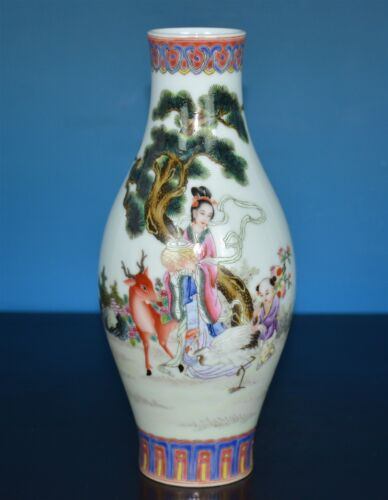 EXQUISITE ANTIQUE CHINESE FAMILLE ROSE PORCELAIN VASE MARKED QIANLONG RARE K6913
